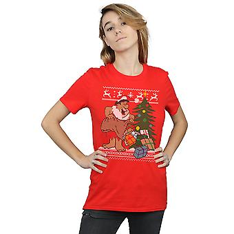 The Flintstones Women's Christmas Fair Isle Boyfriend Fit T-Shirt