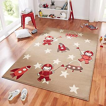 Design suede play mat for kids astronaut beige red 140 x 200 cm