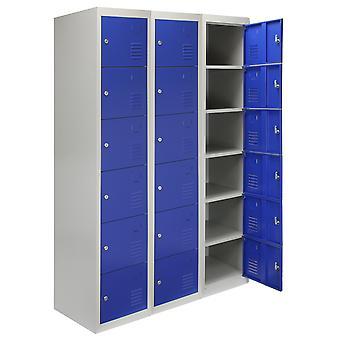 3 x almacenamiento de Metal Lockers - seis puertas, azul