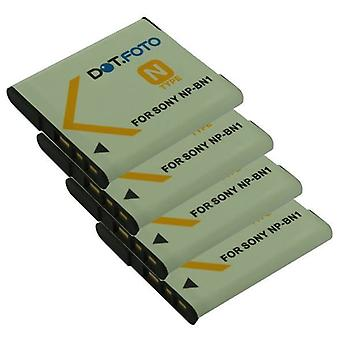 4 x Dot.Foto Sony NP-BN, NP-BN1 udskiftningsbatteri - 3.7V / 630mAh