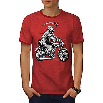 Grim Reaper Moto Horror Men Heather Red / RedRinger T-shirt | Wellcoda