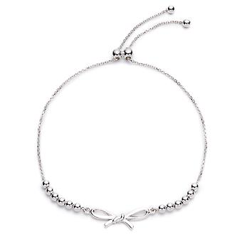 Rhodium Plated Sterling Silver Adjustable Beaded bracelet with Bow,  Expandable 9.25 Inch