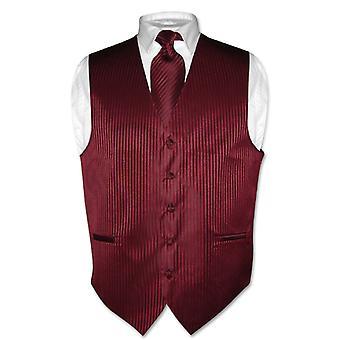 Men's Dress Vest & NeckTie Vertical Striped Design Neck Tie Set
