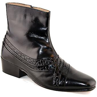 Mens Leather Upper Sock Sole Cuban Heel Chelsea Ankle Zip Boots Shoes
