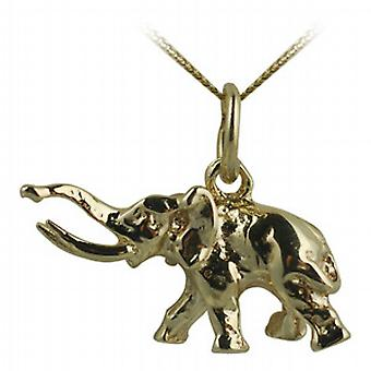 9ct Gold 10x20mm tusker Elephant Pendant with a curb Chain 20 inches