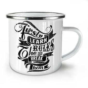 First Learn Rules NEW WhiteTea Coffee Enamel Mug10 oz | Wellcoda