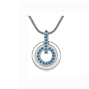 Womens Light Blue Circle Pendant Necklace Encrusted Crystal Stones Mix & Match