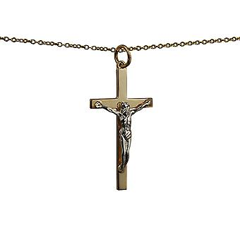 9ct Gold 30x17mm solid block Yellow Cross and White Crucifix with a cable Chain 16 inches Only Suitable for Children