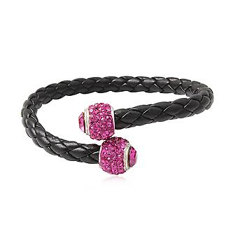 Bead Bracelet Bangle black leather, Crystal Rose and Silver 925