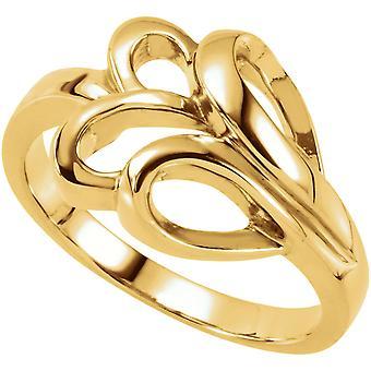 14 k giallo oro metallo moda anello - 5,3 grammi - taglia 6