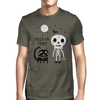 Skeleton Black Cat Halloween Shirt For Men Round Neck Graphic Tee