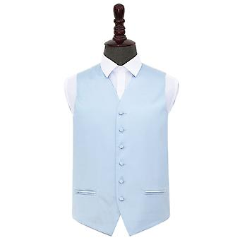 Baby Blue Plain Satin Wedding Waistcoat