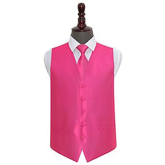 Fuchsia Pink Solid Check Wedding Waistcoat & Tie Set