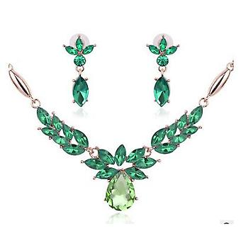 Emerald Crystals Necklace and Earrings Set