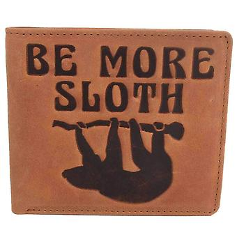 Mustard Be More Sloth Bifold and Coin Wallet - Brown