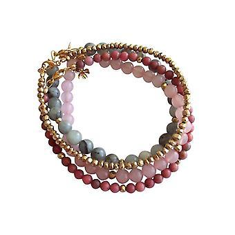 Gemshine - ladies - imposta - marmo blu oro rosa - Acquamarina - quarzo rosa - rosa Bracciale - placcato oro-