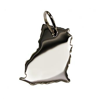 Trailer map GHANA pendant in solid 925 Silver