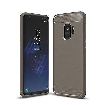 Samsung Galaxy S9 TPU case carbon fiber optics brushed protection cover grey
