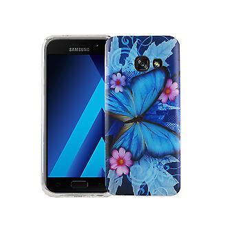 Caja móvil para adorno de bolsa protectora caso Samsung Galaxy A3 2017 cubierta slim TPU + armadura mariposa de protección cristal azul 9 H