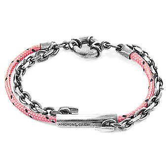 Anchor & Crew Pink Belfast Silver and Rope Bracelet