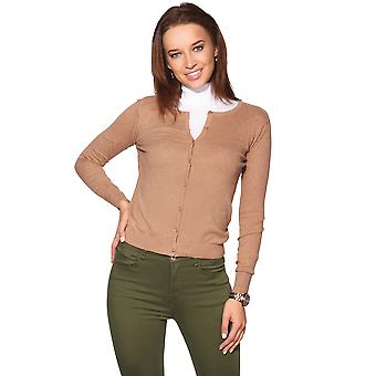 KRISP  Women Ladies Soft Knit Crew Neck Button Cardigan Sweater Jumper Top Work Office