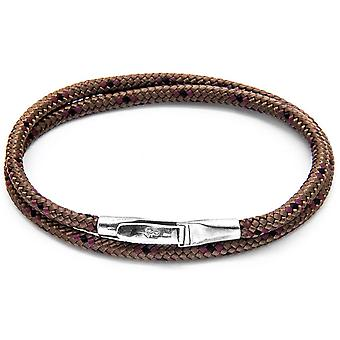 Anchor and Crew Liverpool Silver and Rope Bracelet - Brown