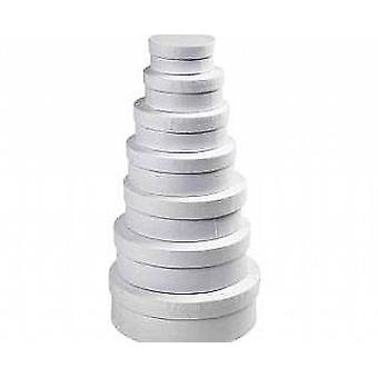 7 Round White Board Stacking Boxes for Crafts | Cardboard Gift Boxes