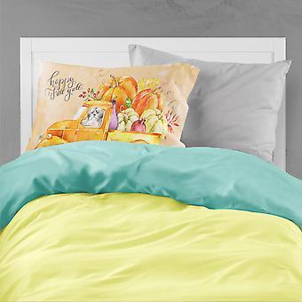 Fall Harvest Shih Tzu Puppy Cut Fabric Standard Pillowcase