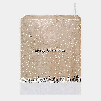 East of India Brown Paper Gift Bags Merry Christmas with Trees x 50