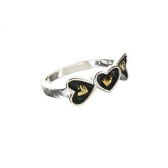 Cavendish francuski utlenione srebro złota Vermeil centrum serca pierścień