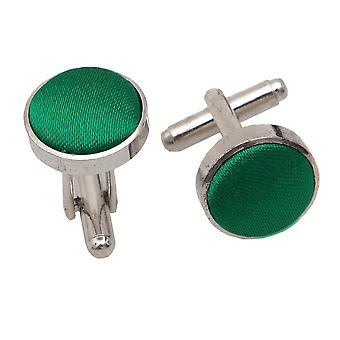 Emerald Green Plain Satin Cufflinks