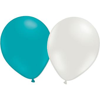 Ballonnen mix 24-pack turquoise/wit