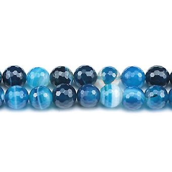 Packet 6 x Blue Banded Agate 8mm Faceted Round Beads VP1430