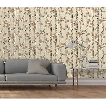 Elegant Sparkle Birchwood Cream Wallpaper Wall Decoration 0.52m x 10.05m