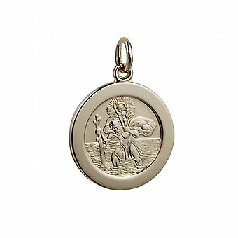 1/20th 14ct yellow gold on Silver 21mm round St Christopher Pendant