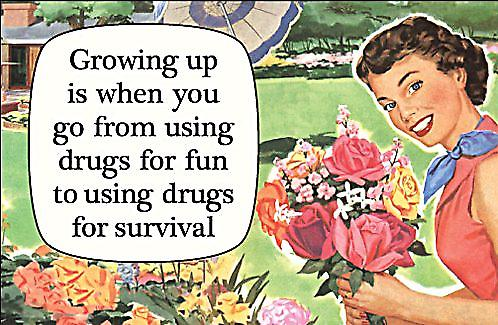 Growing Up Is When You Go From Using Drugs.... funny fridge magnet  (ep)