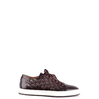 Santoni Brown Leather Sneakers