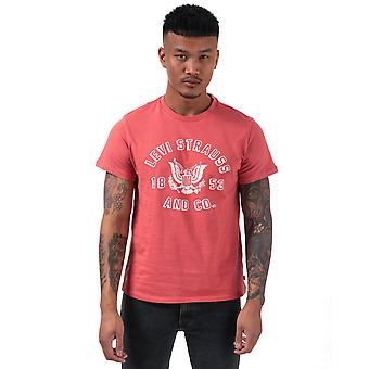Mens Levis Graphic Icon Eagle T-Shirt In Red- Short Sleeve- Ribbed Collar- Crew