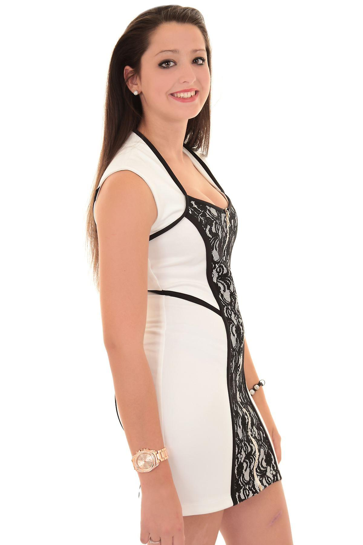 New Ladies Sleeveless Front Zip Lace Fitted Smart Evening Women's Bodycon Dress