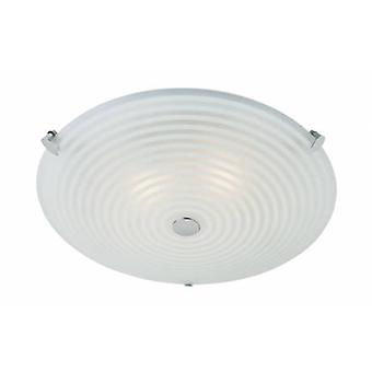 2 Light Flush Ceiling Light Frosted White, Clear Patterned Glass With Chrome