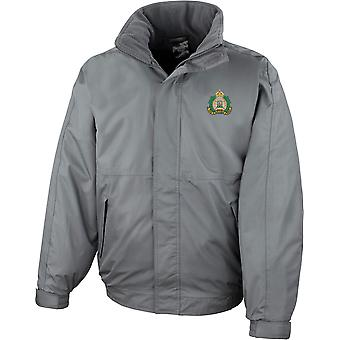 Suffolk Regiment Colour - Licensed British Army Embroidered Waterproof Jacket With Fleece Inner