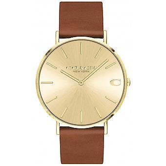 Coach | Mens | Charles | Brown Leather Strap | Gold Dial | 14602433 Watch