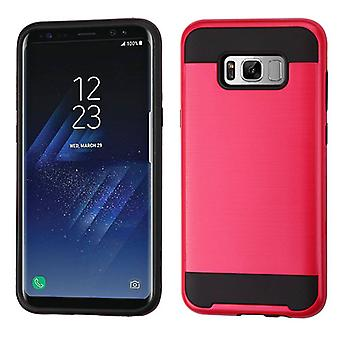 ASMYNA Red/Black Brushed Hybrid Case for Galaxy S8 Plus