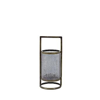 Light & Living Hurricane Ø14x32 Cm THILO Glass Grey Luster+antique Bronze