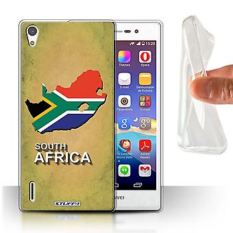 STUFF4 Gel/TPU Case/Cover for Huawei Ascend P7 LTE/South Africa/African/Flag Nations