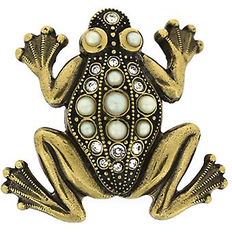 Cavendish French Edwardian Gold & Crystal Large Frog Brooch