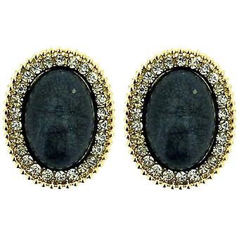 Clip On Earrings Store Extra Large Gold, Grey Stone & Crystal Oval Clip On Earrings