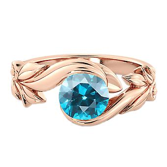 1.00 CT Blue Topaz Ring 14K Rose Gold Flower Leaves Leaf
