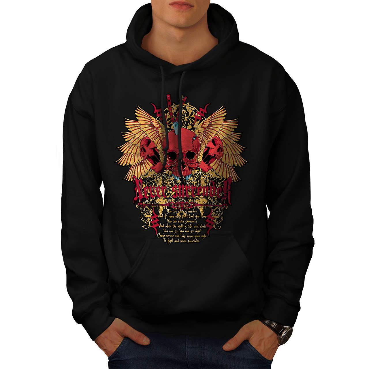 Never Surrender Skull Curse Head Men Black Hoodie | Wellcoda