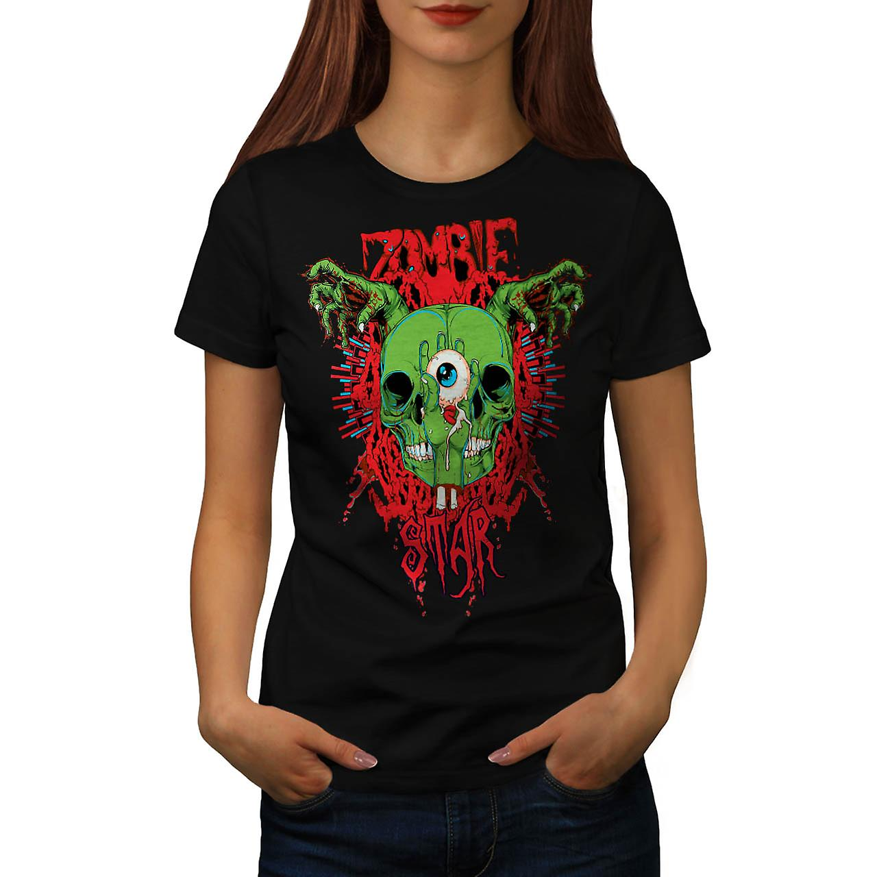 Monstruo Zombie Evil Night Star mujeres negro camiseta | Wellcoda